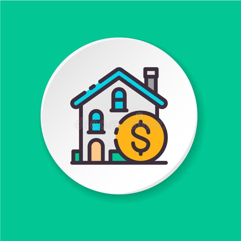 Pojęcie nieruchomości inwestycja Guzik dla sieci app lub wiszącej ozdoby ilustracja wektor