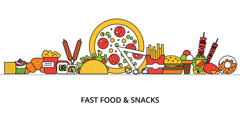 Pojęcie niezdrowy fast food i przekąski ilustracja wektor