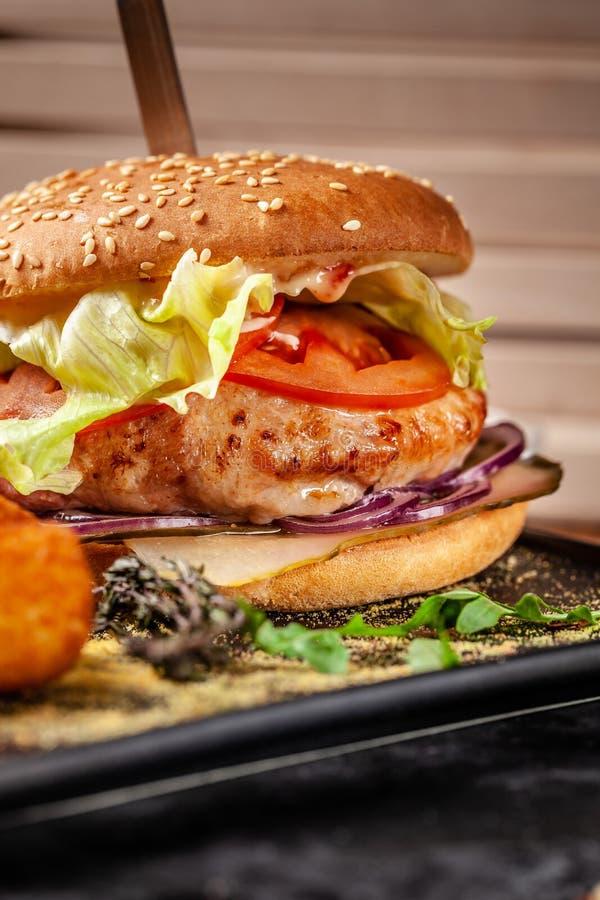 Pojęcie nowożytna Indiańska kuchnia 2019 Świeży hamburger robić od soja pasztecików z warzywami i sałatką, z kartoflanym chrupnię zdjęcie royalty free