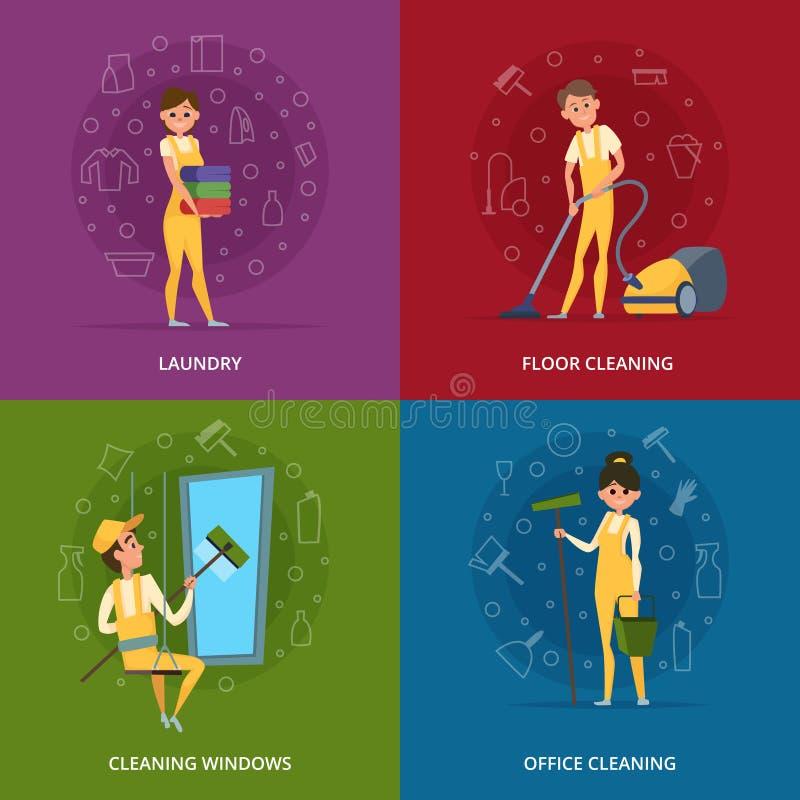 Pojęcie obrazki cleaning usługa pracownicy ilustracja wektor