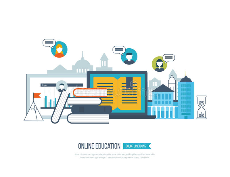 Pojęcie online edukacja, kursy treningowi, uniwersytet, tutorials ilustracji