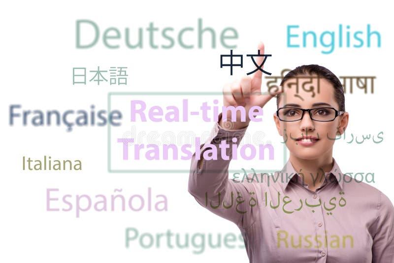 Pojęcie online przekład od języka obcego obraz stock