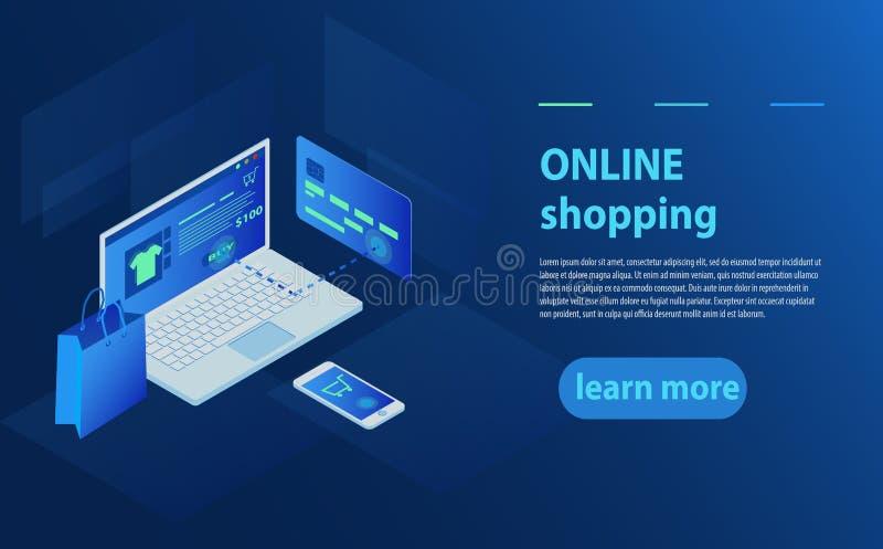 Pojęcie online sklep, online sklep Przeniesienie pieniądze od karty Isometric laptop, bank karta i torba na zakupy na błękitnym t ilustracji
