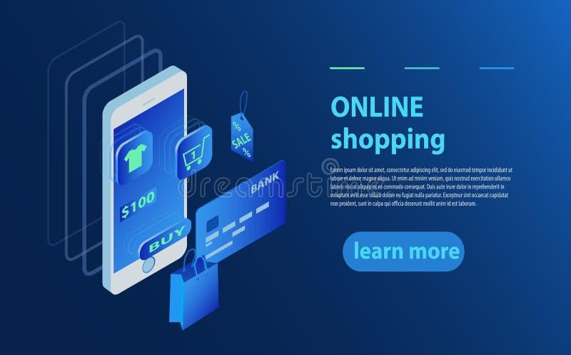 Pojęcie online sklep, online sklep Przeniesienie pieniądze od karty Isometric smartphone, bank karta i torba na zakupy, ilustracja wektor