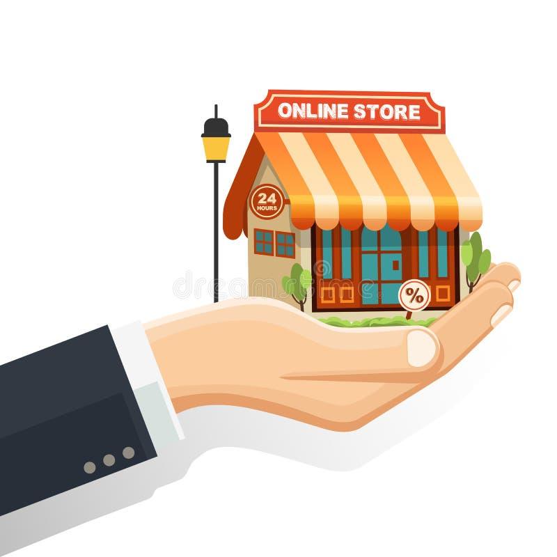 Pojęcie online sklep, ręka trzyma online sklep z kreskowymi sklep ikonami ilustracji