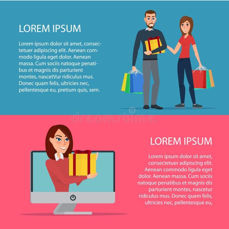 Pojęcie online zakupy Kobieta i mężczyzna kupujemy prezenty royalty ilustracja