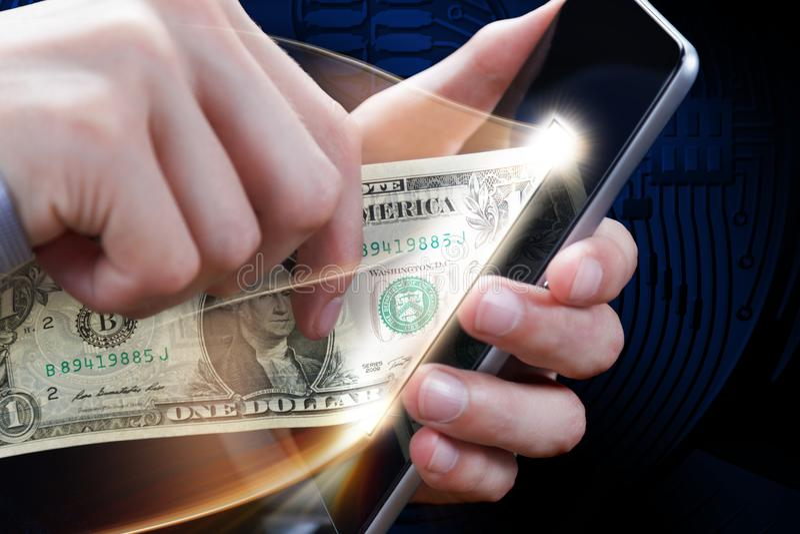 Pojęcie online zapłata, darowizna, sieć, gotówka i cryptocurrency, Bankowość i handel elektroniczny Wygrany nagroda w loterii, ka obrazy royalty free