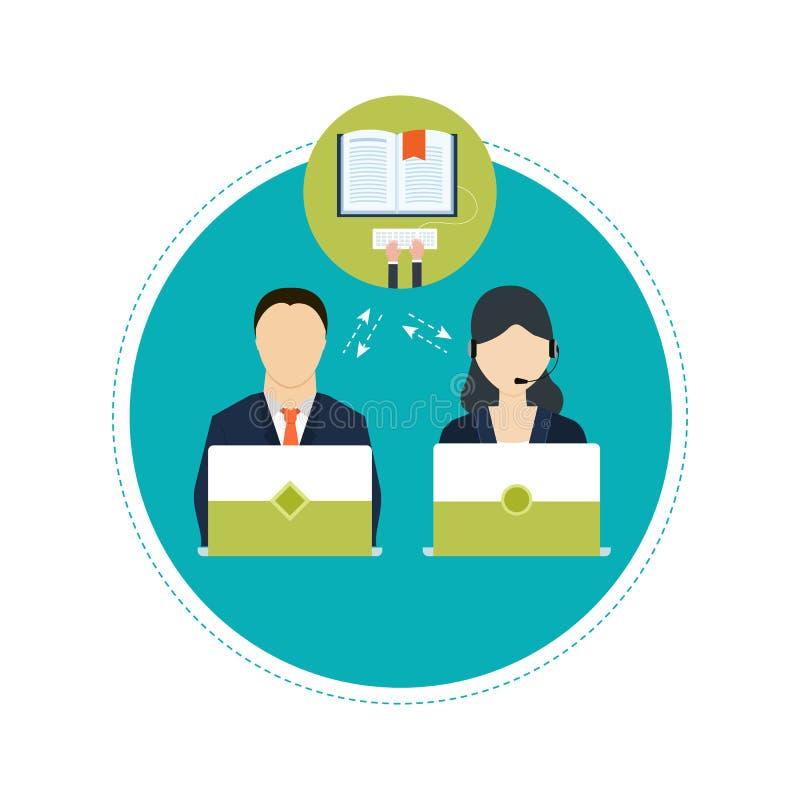 Pojęcie ordynacyjne usługa i nauczanie online ilustracji