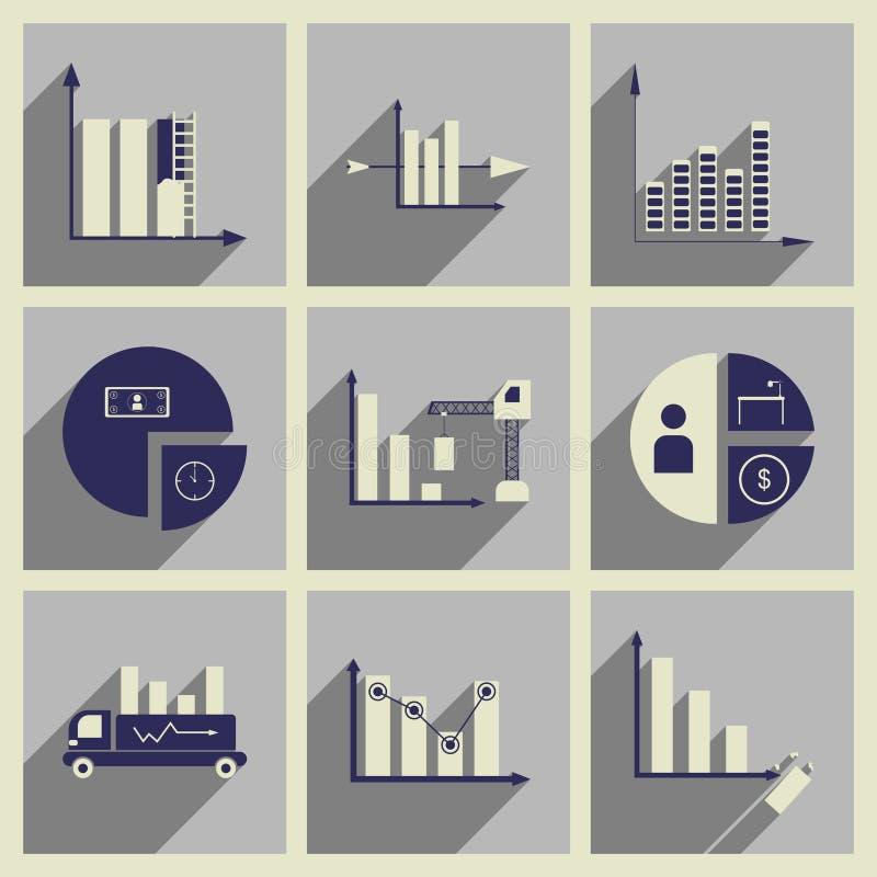 Pojęcie płaskie ikony z długim cieniem sporządza mapę ekonomie ilustracja wektor