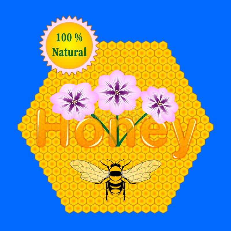 Pojęcie pakować naturalny miód Reklamowy układ Pszczoła, honeycomb, kwitnie ilustracja wektor