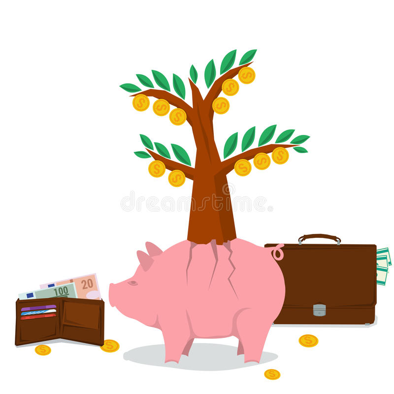 Pojęcie pieniądze oszczędzanie - świniowaty drzewo ilustracji