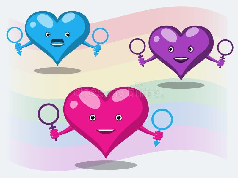 Pojęcie plciowe mniejszości i naturals w postaci rozochoconych serc z symbolami mężczyźni i kobiety przeciw tłu ilustracji