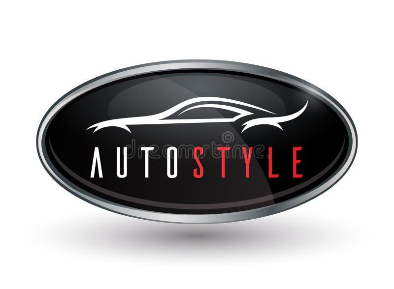 Pojęcie pojazdu logo chrom odznaka z sporta samochodu sylwetką ilustracji