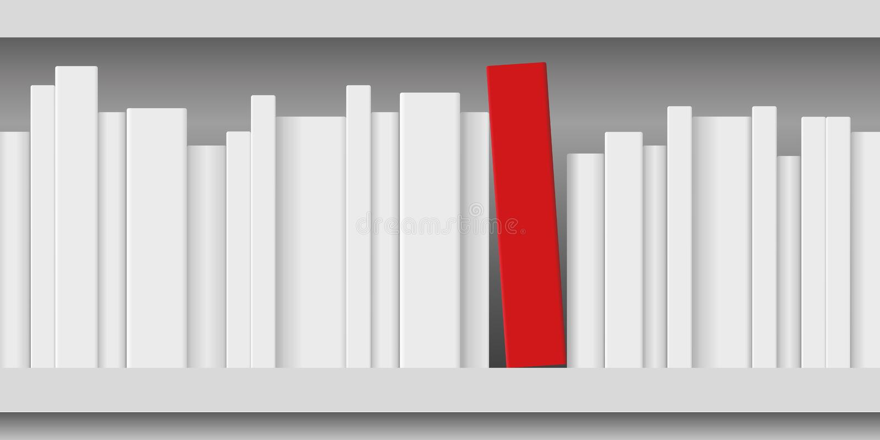 Pojęcie pokazuje białe księgi i czerwieni książkę wiedza układał na półce royalty ilustracja