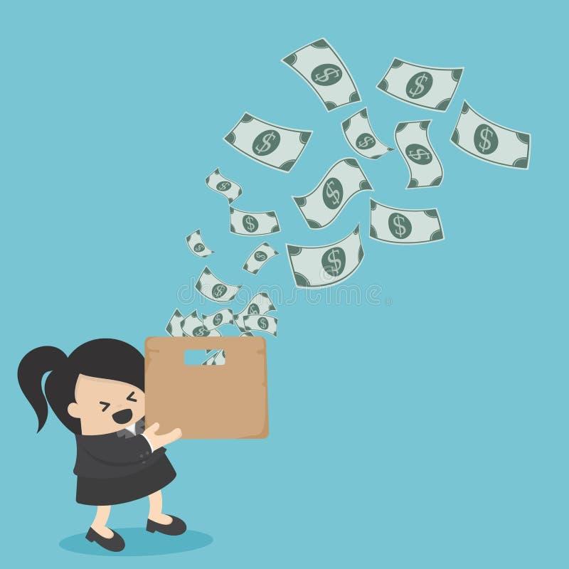 Pojęcie pomyślna biznesowa kobieta z Zadziwiającym pudełkiem władza ilustracja wektor