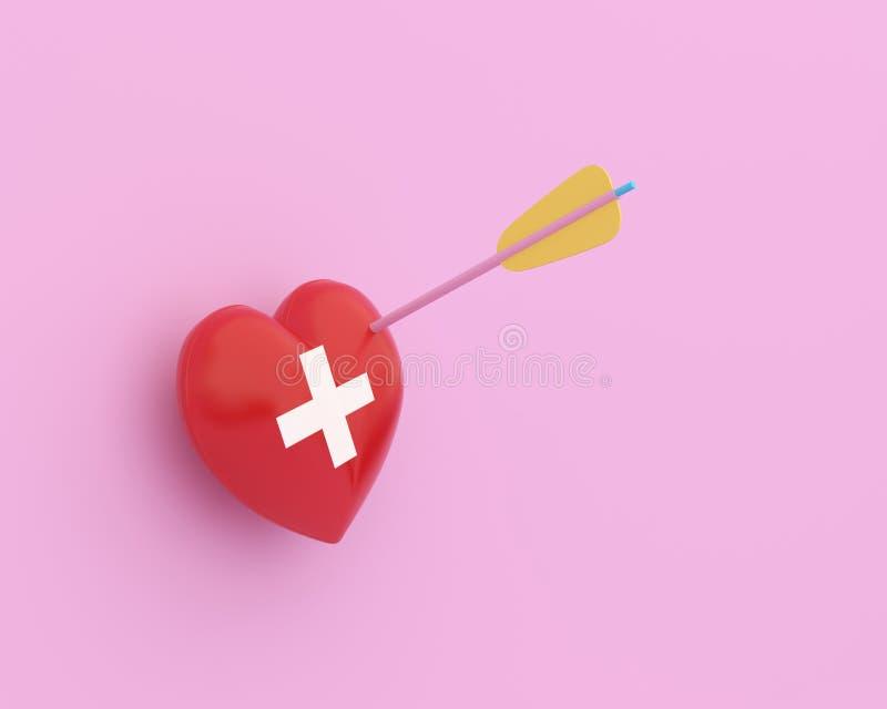 Pojęcie pomysł wokoło zdrowie i ubezpieczenie medyczne, Kreatywnie pomysłu układu czerwony serce z strzałą z ikony opieką zdrowot zdjęcia stock