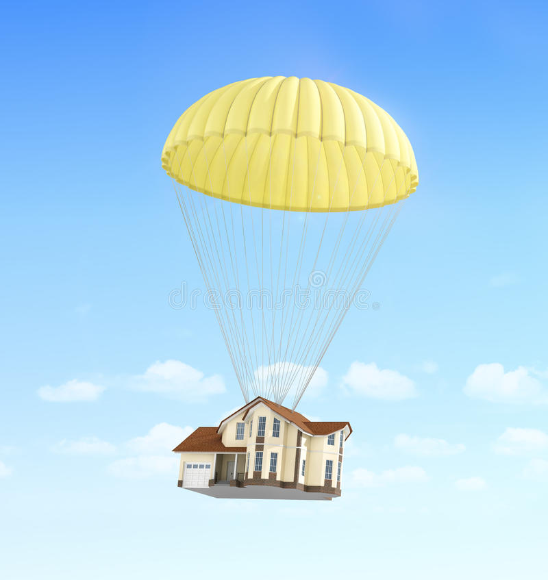 Pojęcie postu czynsz Domowy spadać na spadochronie zdjęcia royalty free