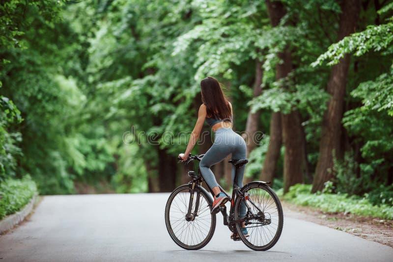 Pojęcie prędkości i ruchu Rowerzystka na rowerze na drodze asfaltowej w lesie w ciągu dnia obraz stock
