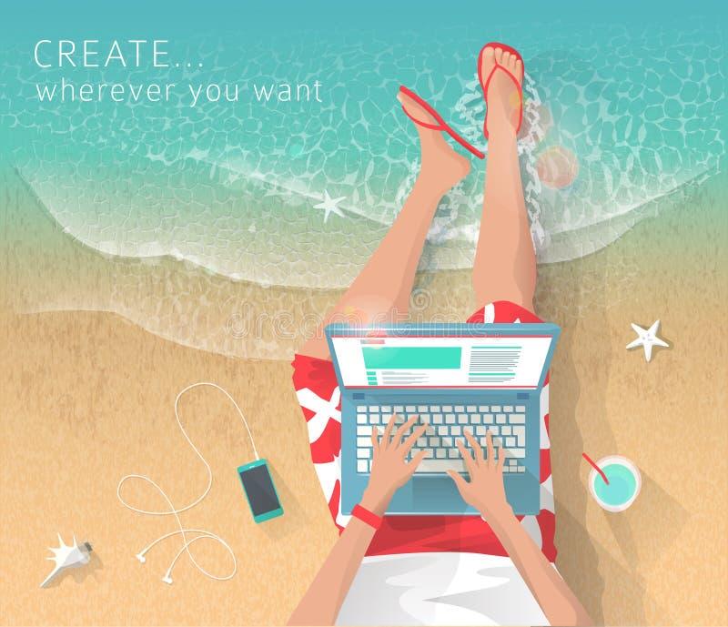 Pojęcie pracować przy morzem ilustracji