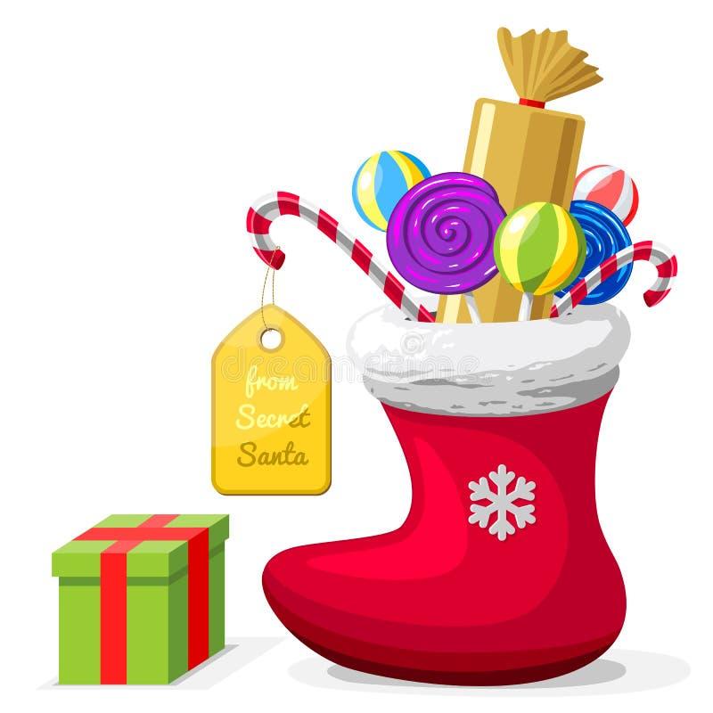 Pojęcie prezenty od Tajnego Santa ilustracji