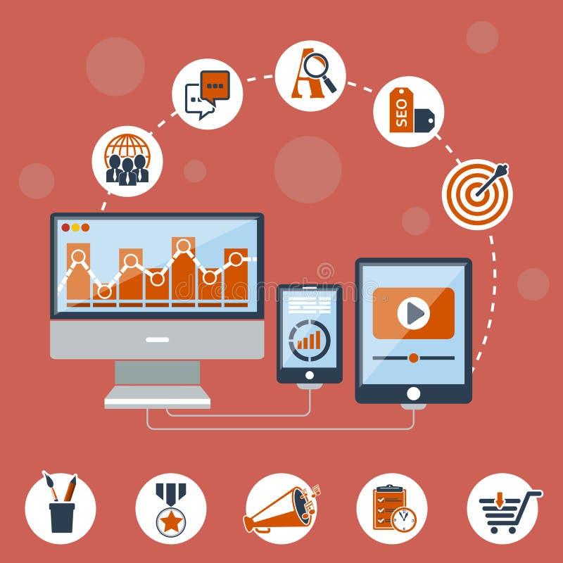 Pojęcie programowanie proces, Seo zarządzanie i strona internetowa, szukamy optymalizacja royalty ilustracja