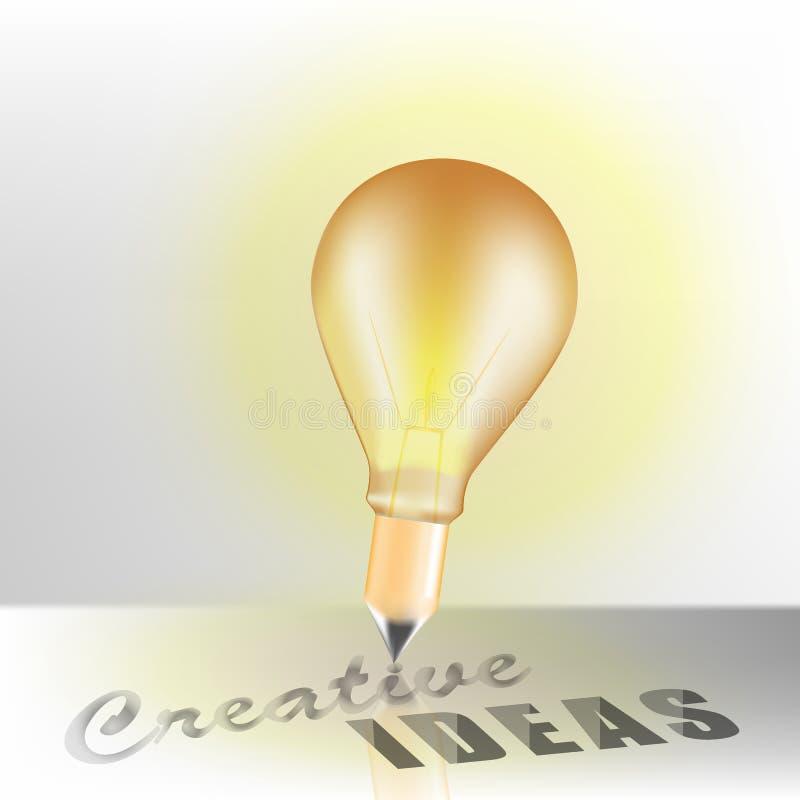 Pojęcie projekta ołówek z Kreatywnie pomysłów słowami i żarówka ilustracja wektor