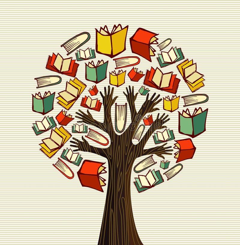 Pojęcie projekta ręka rezerwuje drzewa ilustracja wektor
