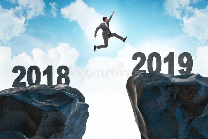 Pojęcie przemiana między 2018 i 2019 zdjęcia stock