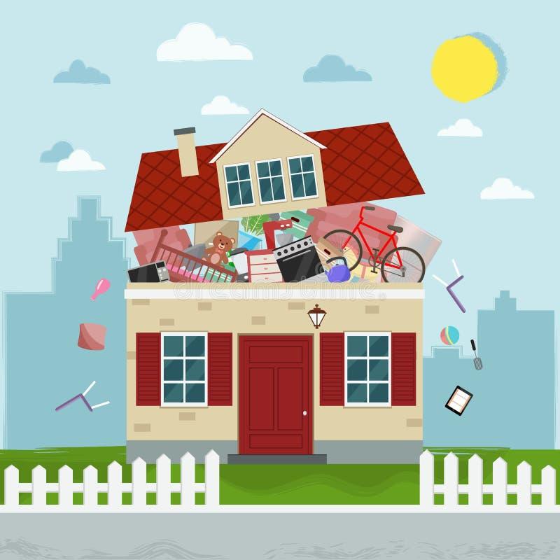 Pojęcie przesadny konsumeryzm Domowy pękać materiał również zwrócić corel ilustracji wektora ilustracji