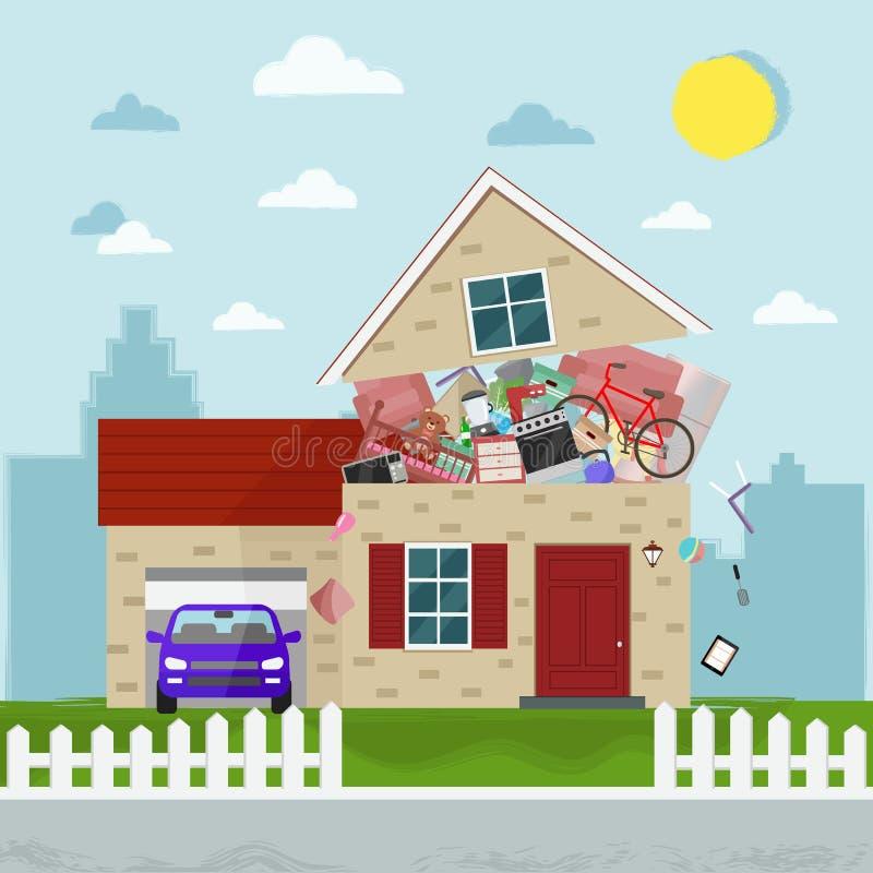 Pojęcie przesadny konsumeryzm Domowy pękać materiał również zwrócić corel ilustracji wektora ilustracja wektor