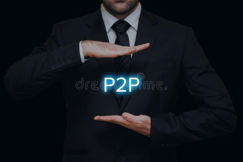 Pojęcie rówieśnik przyglądać się P2P zdjęcia royalty free