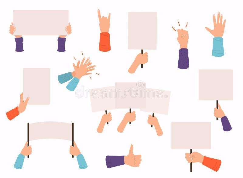 Pojęcie ręki trzyma różnych sztandary, manifestacja szyldowy plakat Puści głosowanie plakaty i pokoju protestacyjny plakat ilustracja wektor