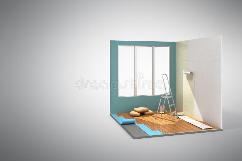 Pojęcie remontowej pracy domowego pokoju isometric niski poli- odświeżanie ja ilustracji