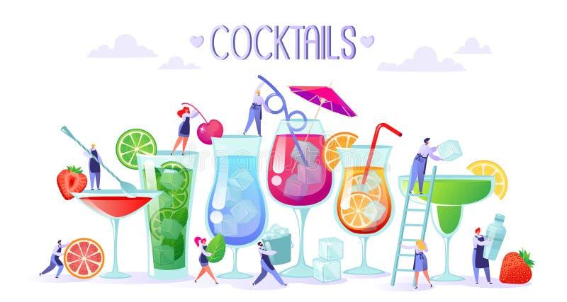 Pojęcie robić odświeżać, lato i alkoholiczka koktajle z, owoc, lodowych i nowych liśćmi, ilustracja wektor