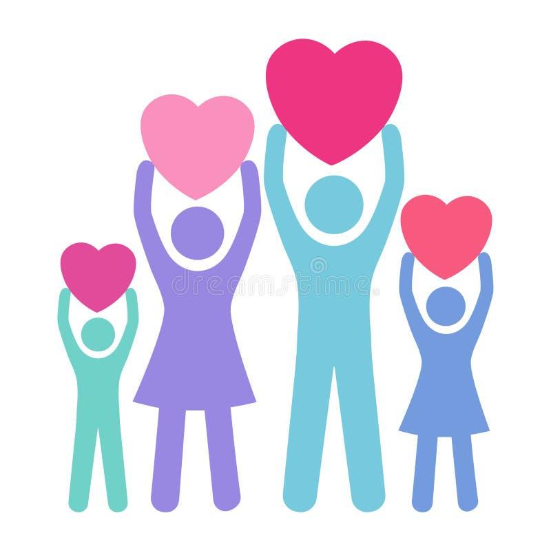 Pojęcie Rodzinna daje miłość ilustracji