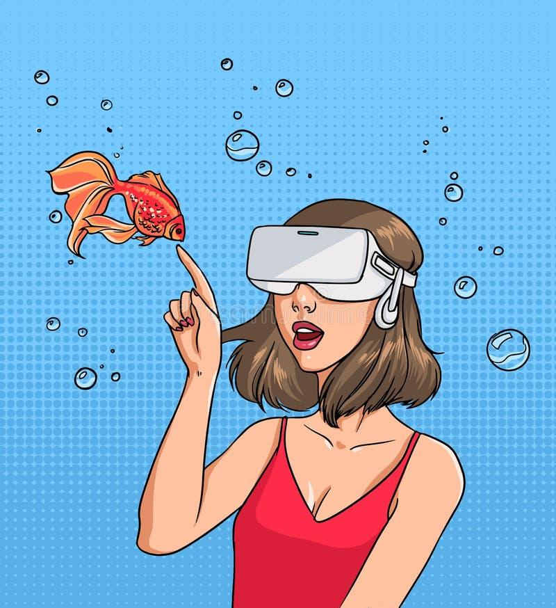 Pojęcie rzeczywistość wirtualna Dziewczyna w 3d-glasses i goldfish Kolorowych komiczek wektorowa ilustracja w wystrzał sztuki sty ilustracji