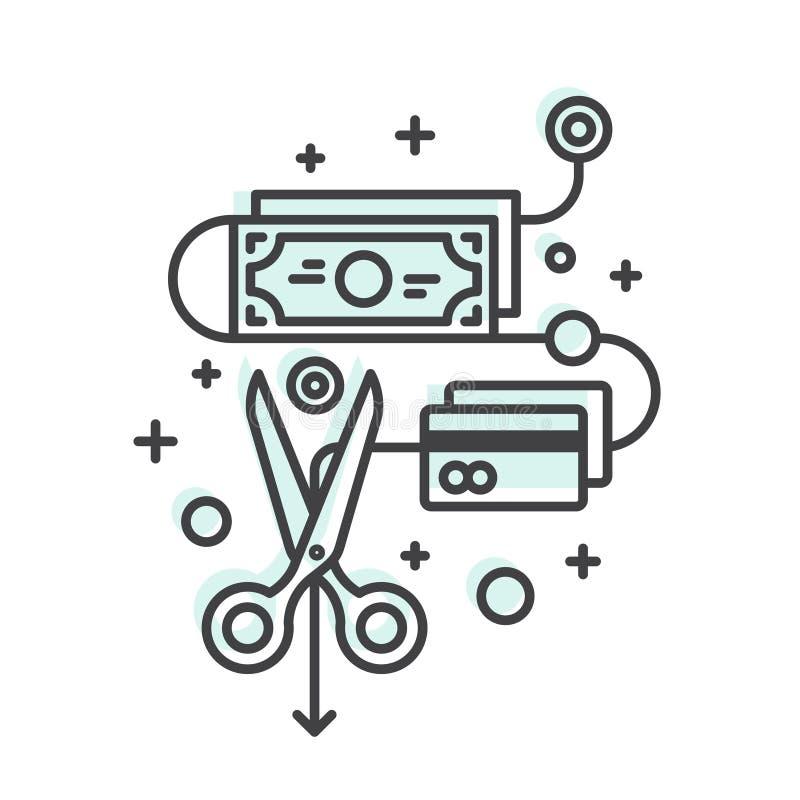 Pojęcie Savings i pieniądze, cięcie budżetowe ilustracja wektor