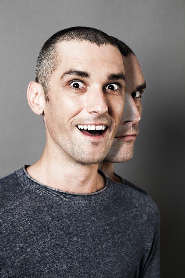 Pojęcie schizofrenia i dwubiegunowy zachowanie z dwugłowym mężczyzna obrazy royalty free
