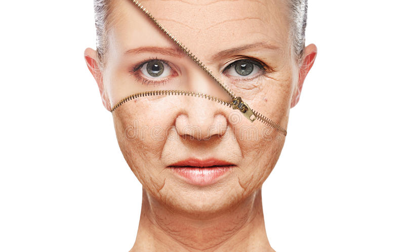 Pojęcie skóry starzenie się starzenie się procedury, odmładzanie, udźwig, dociskać twarzowa skóra fotografia stock