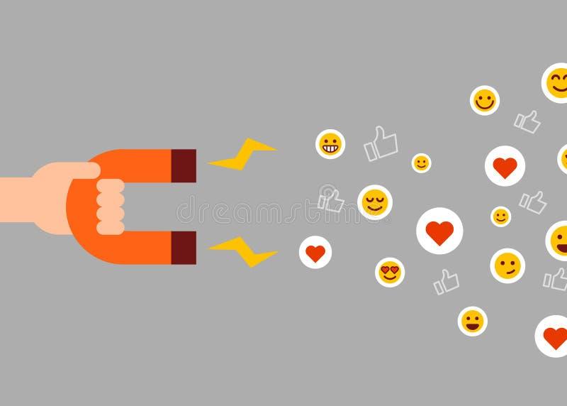pojęcie socjalny marketingowy medialny Magnes przyciąga podobieństwa ilustracja wektor