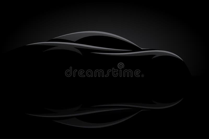 Pojęcie sportów samochodu pojazdu sylwetka royalty ilustracja
