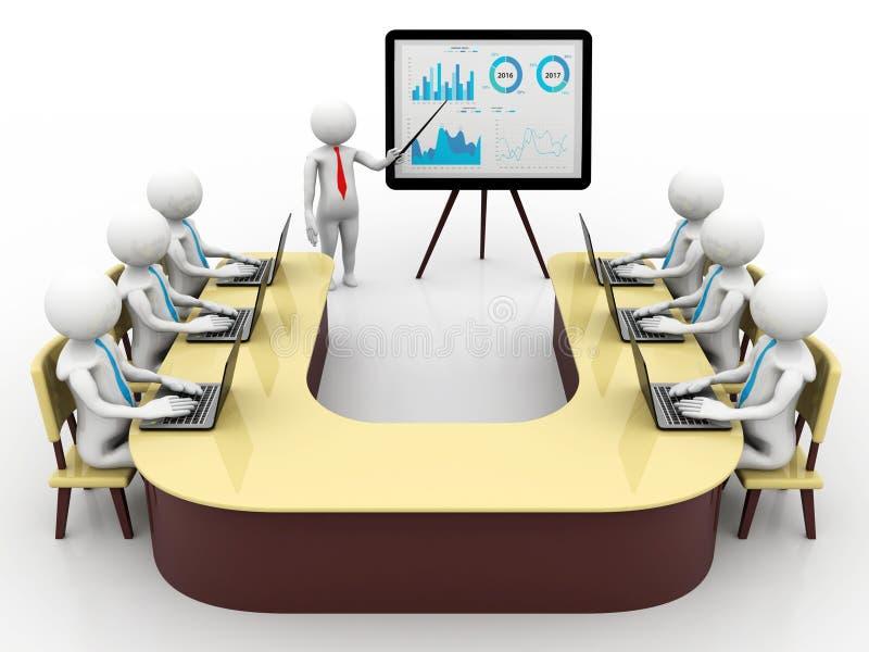 Pojęcie spotkanie, edukacja i uczenie, prezentacja Odosobniony biały tło, 3d odpłaca się ilustracja wektor