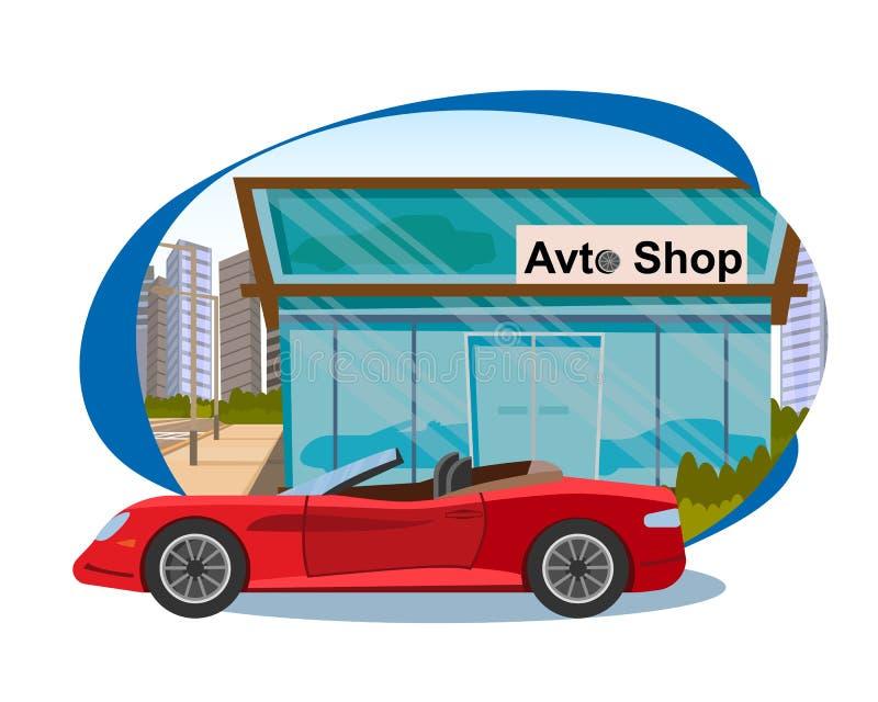 Pojęcie sprzedaże nowi samochody w Avto Robią zakupy ilustracja wektor