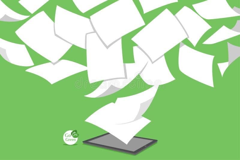 Pojęcie sterty biały paperless iść zieleń royalty ilustracja