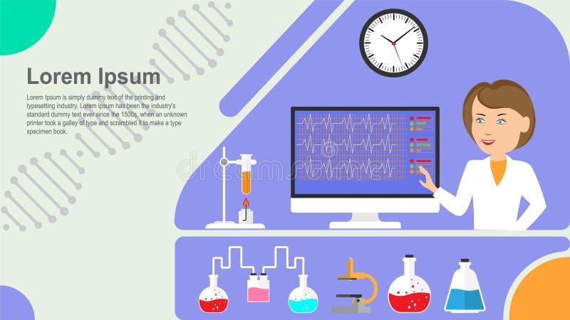 Pojęcie substancja chemiczna i cząsteczkowy wyposażenie w laboratorium na błękitnym tle royalty ilustracja