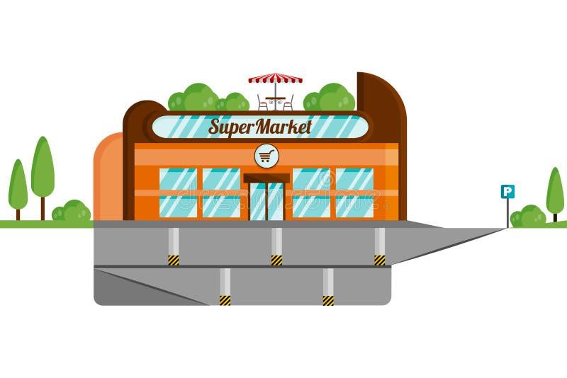 Pojęcie supermarket z podziemnym parking Odosobniony układ na białym tle ilustracja wektor