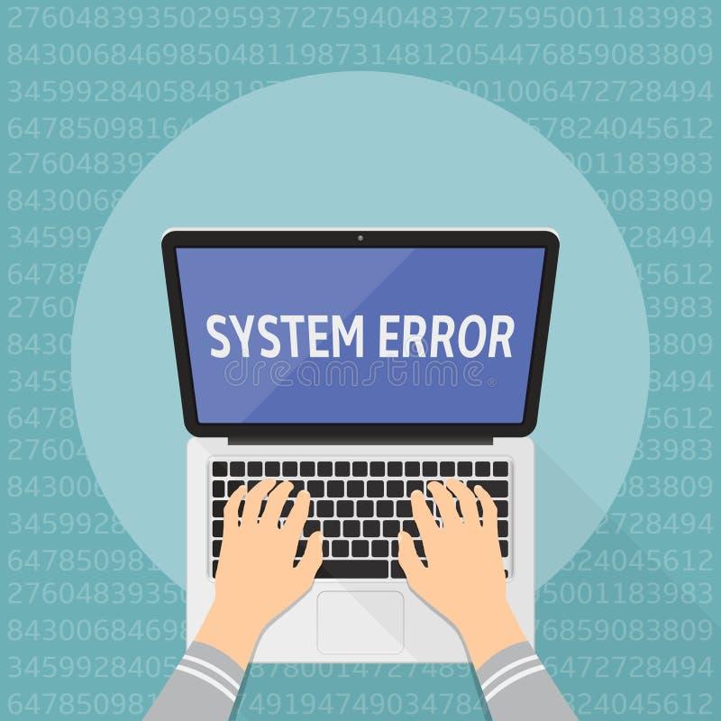 Pojęcie systemu komputerowego błąd wręcza klawiaturowego laptop ilustracja wektor
