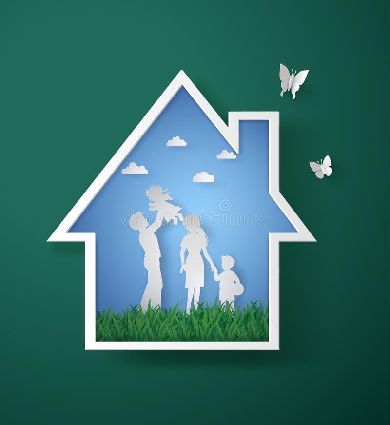 Pojęcie szczęśliwa rodzina z domem ilustracja wektor