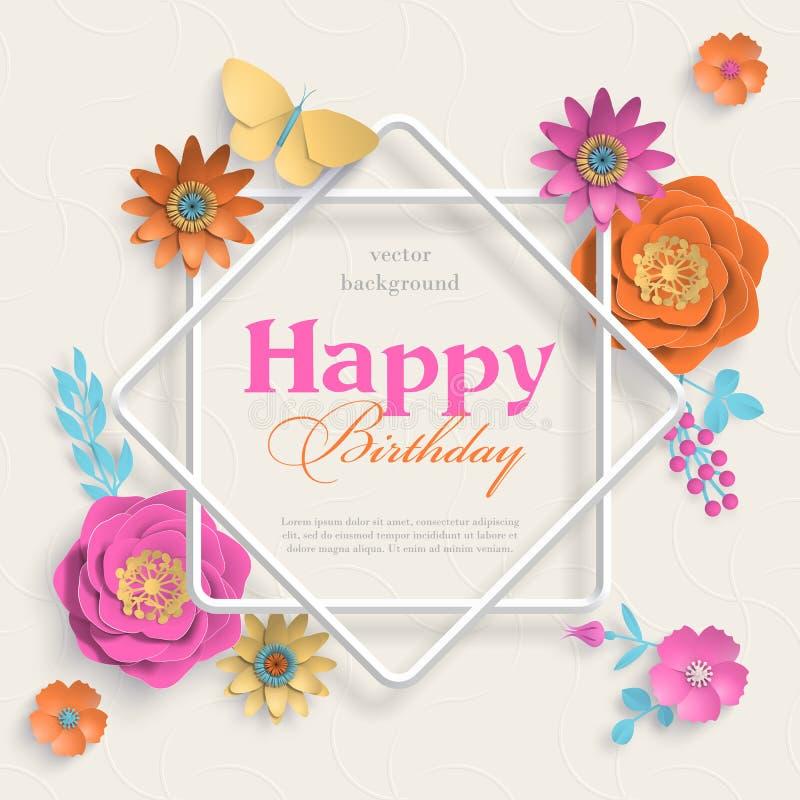 Pojęcie sztandar z papierowymi sztuka kwiatami, osiem wskazującą gwiazdy ramą i islamskimi geometrycznymi wzorami, Papier rżnięty royalty ilustracja