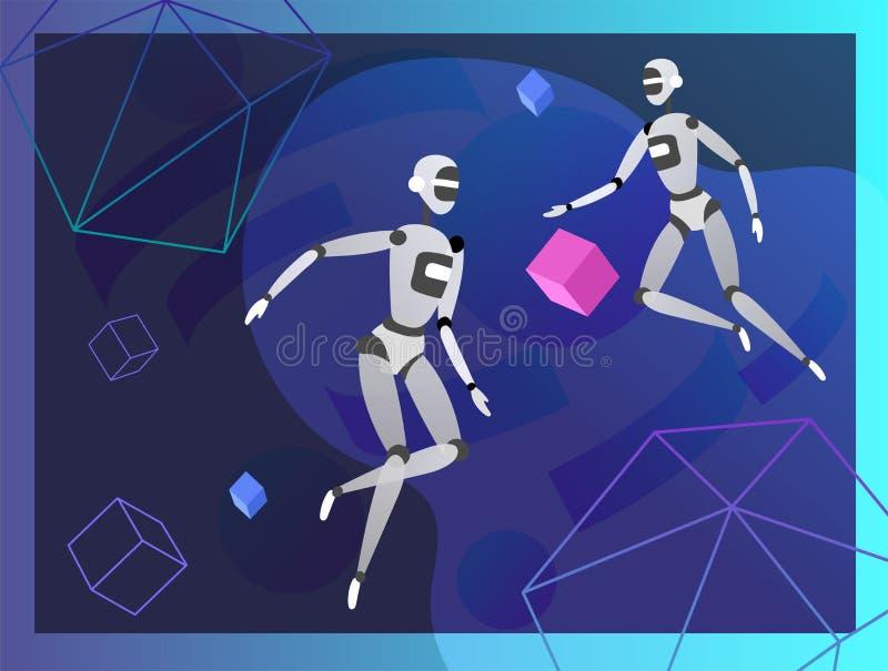 Pojęcie Sztuczna inteligencja Poniedziałek i Cyber, futurystyczny cyberpunk projekt, cyborgi pracuje na nadrealistycznym projekci royalty ilustracja